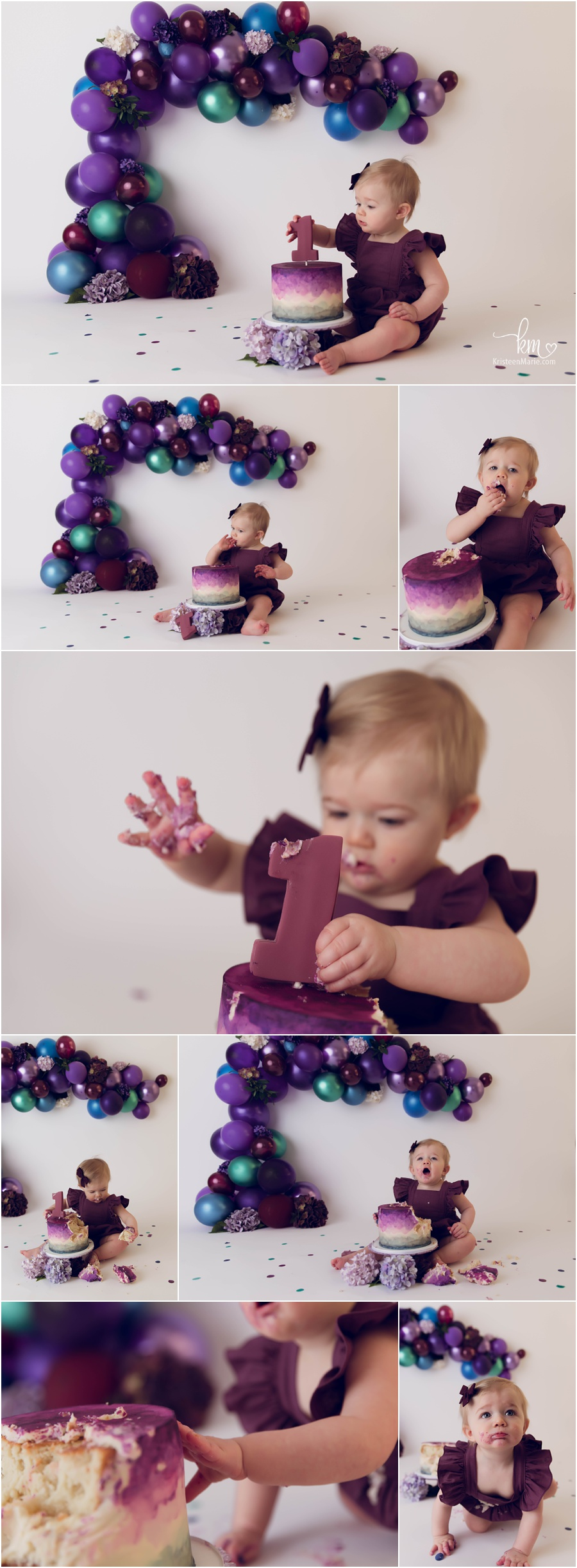purple, blue, and green cake smash - plum romper - 1st birthday