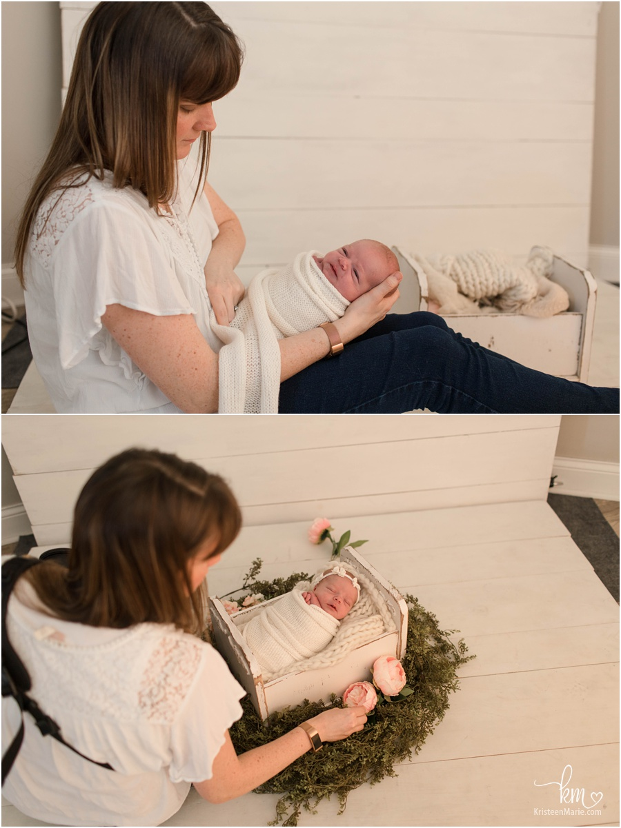 wrapped baby shots - behind the scenes of a newborn session