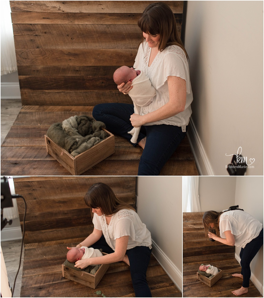 behind the scenes pull back shot from newborn photography pictures
