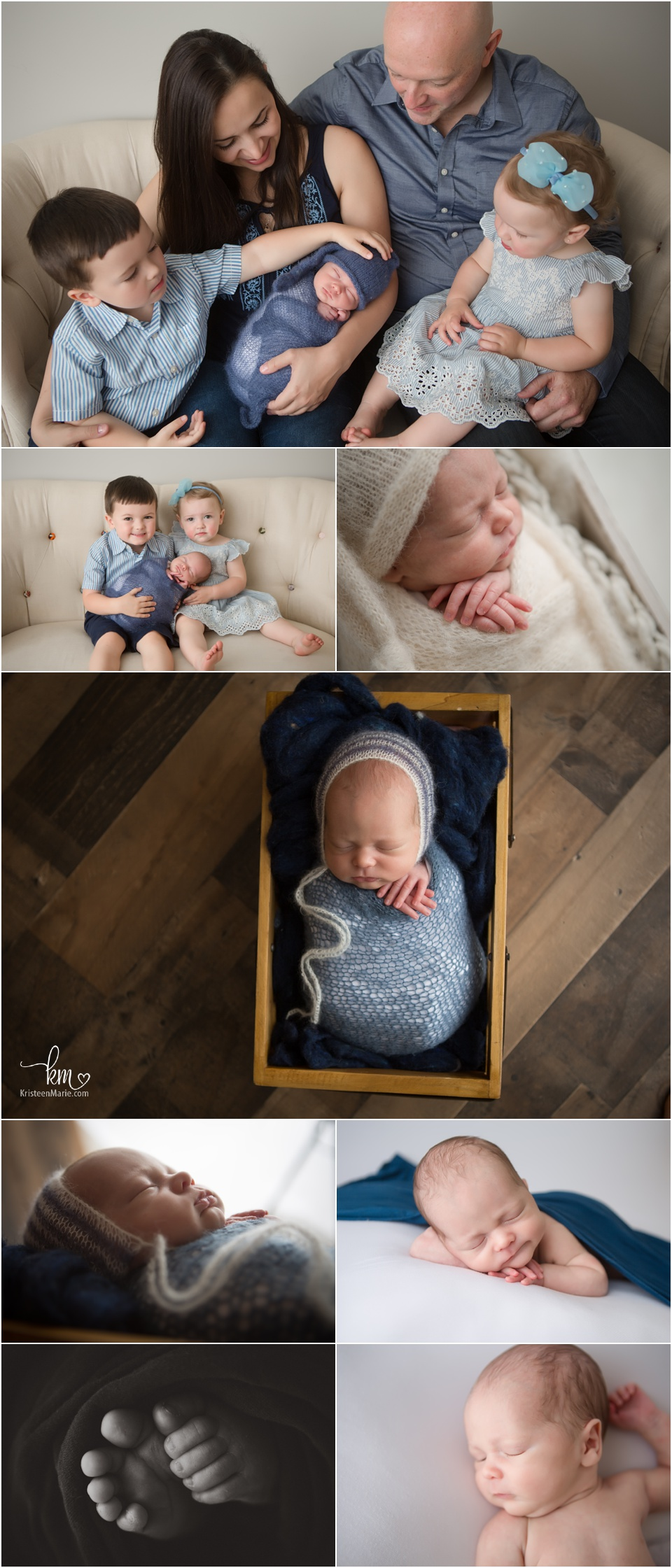 newborn boy - older baby with family for newborn pictures