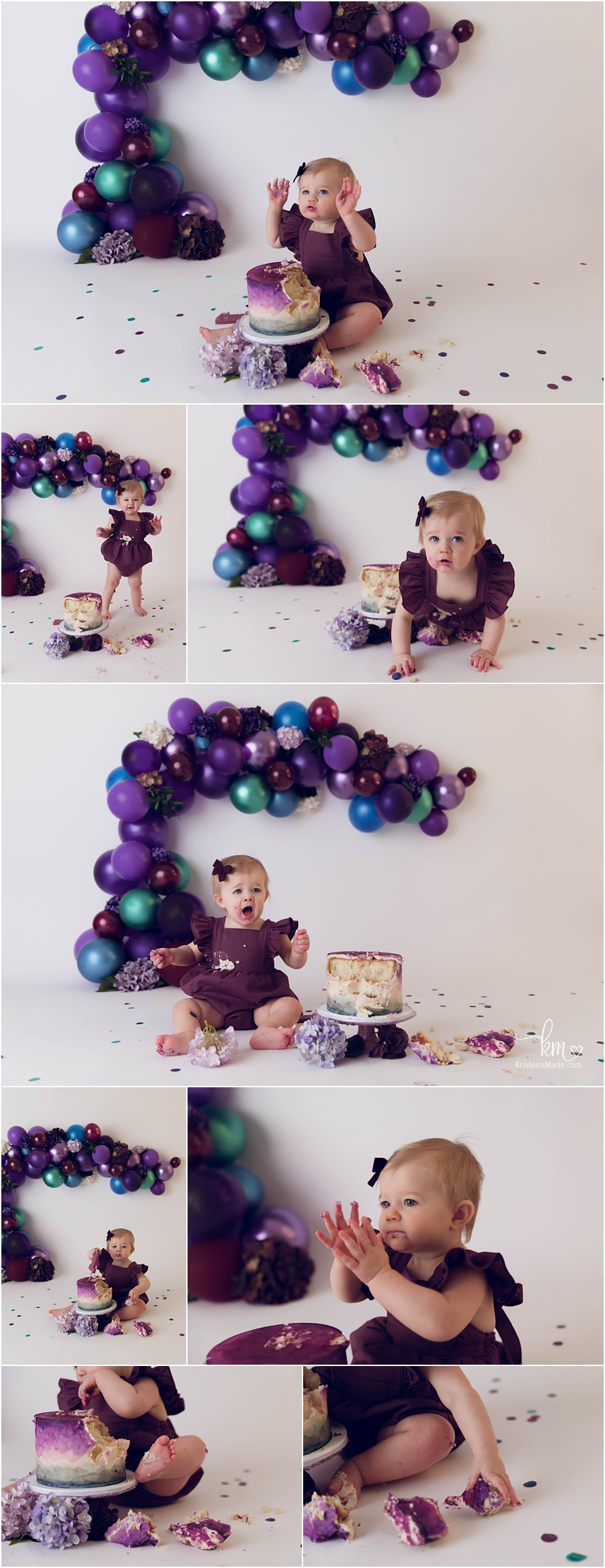 purple, blue, green and plum cake smash session for baby's 1st birthday - KristeenMarie Photography