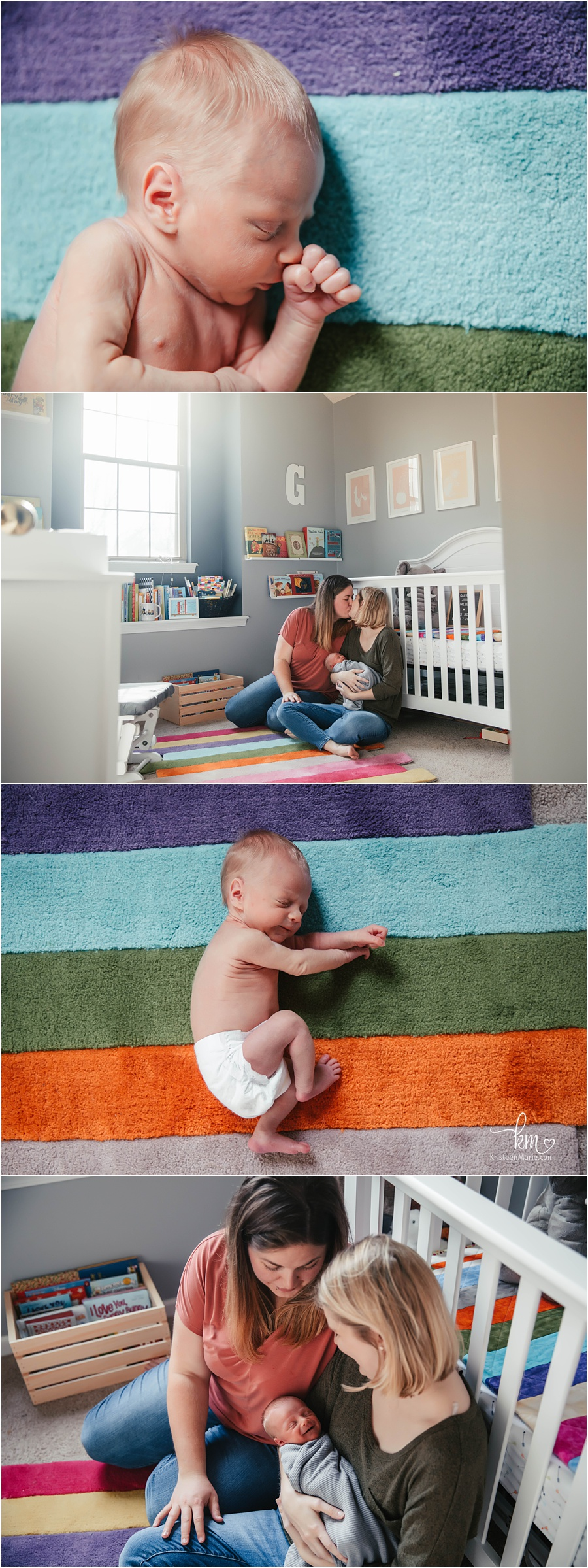 moms in ranbow themed nursery with newborn baby boy