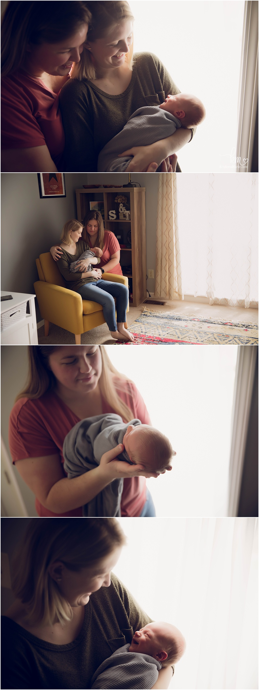 lesbians in home newborn photography session with baby