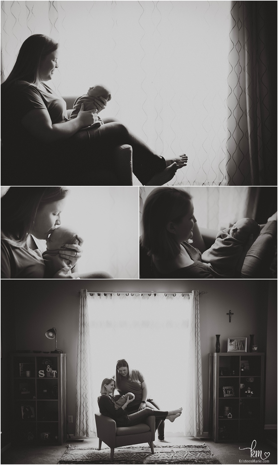 in-home lifestyle newborn images - black and white backlit