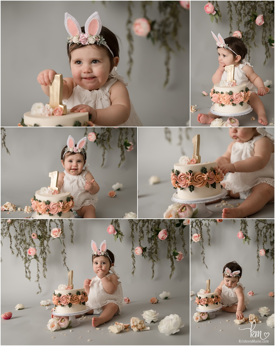 pink blush greenery 1st birthday cake smash