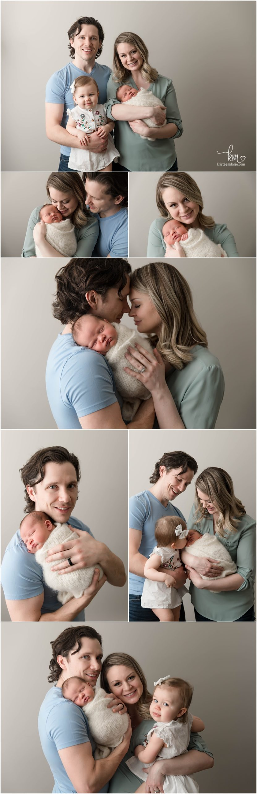 family pictures with newborn baby - neutral colors family poses - family of 4