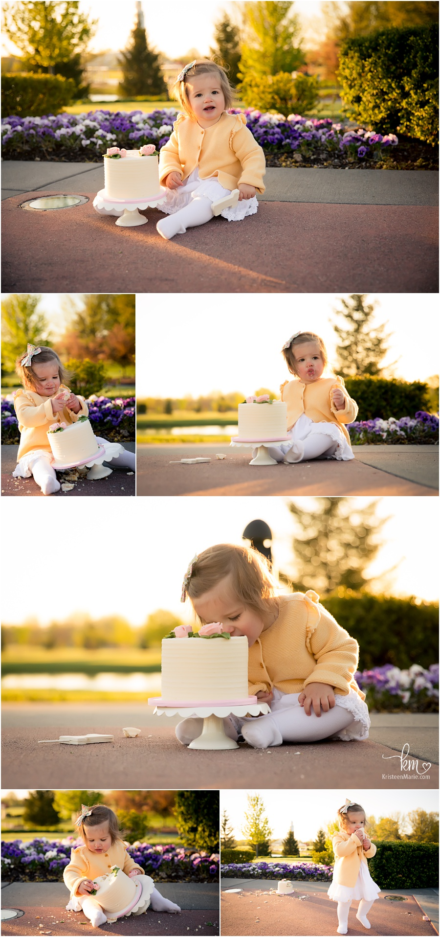 outdoor cake smash session - pink and yellow