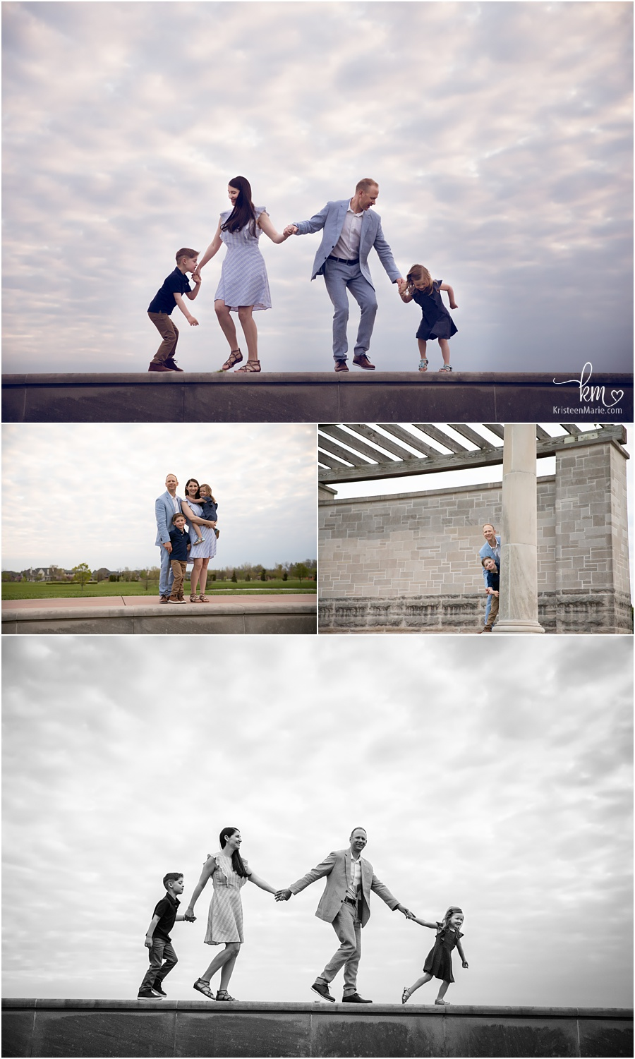 Family pictures outdoors in Carmel Indiana