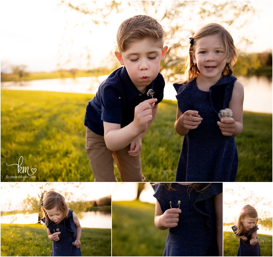 Kids playing with flowers outside