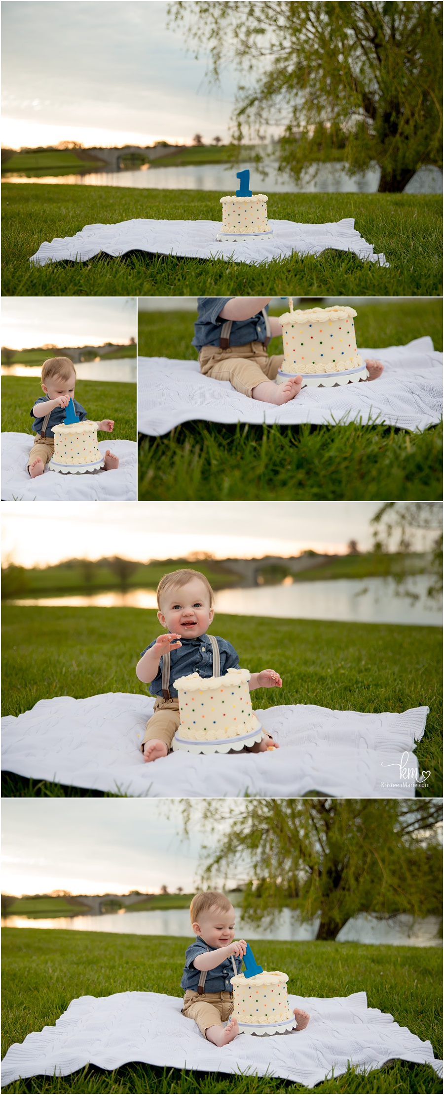 outdoor cake smash session at sunrise in Indianapolis - Indy family photography