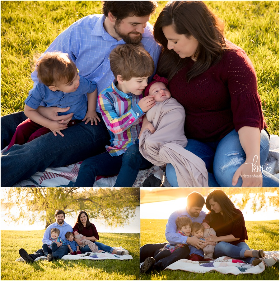 Outdoor newborn photography - whole family with baby