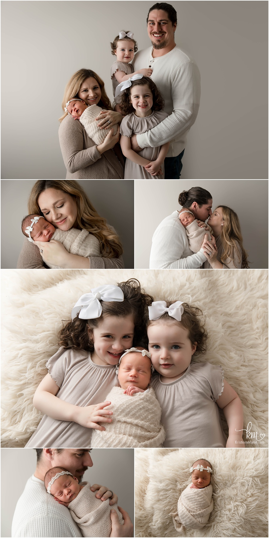 family poses with newborn baby girl - family of 5