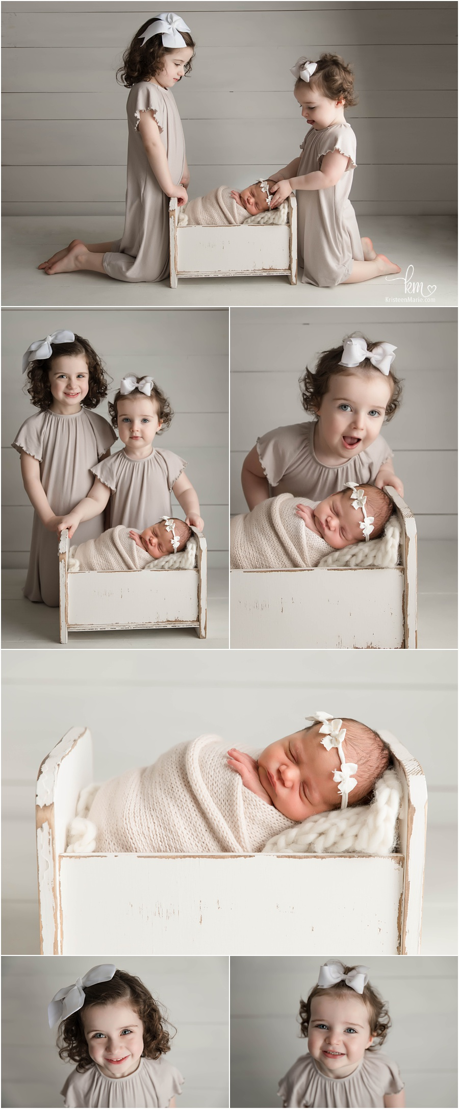 sibling shots with three including newborn baby