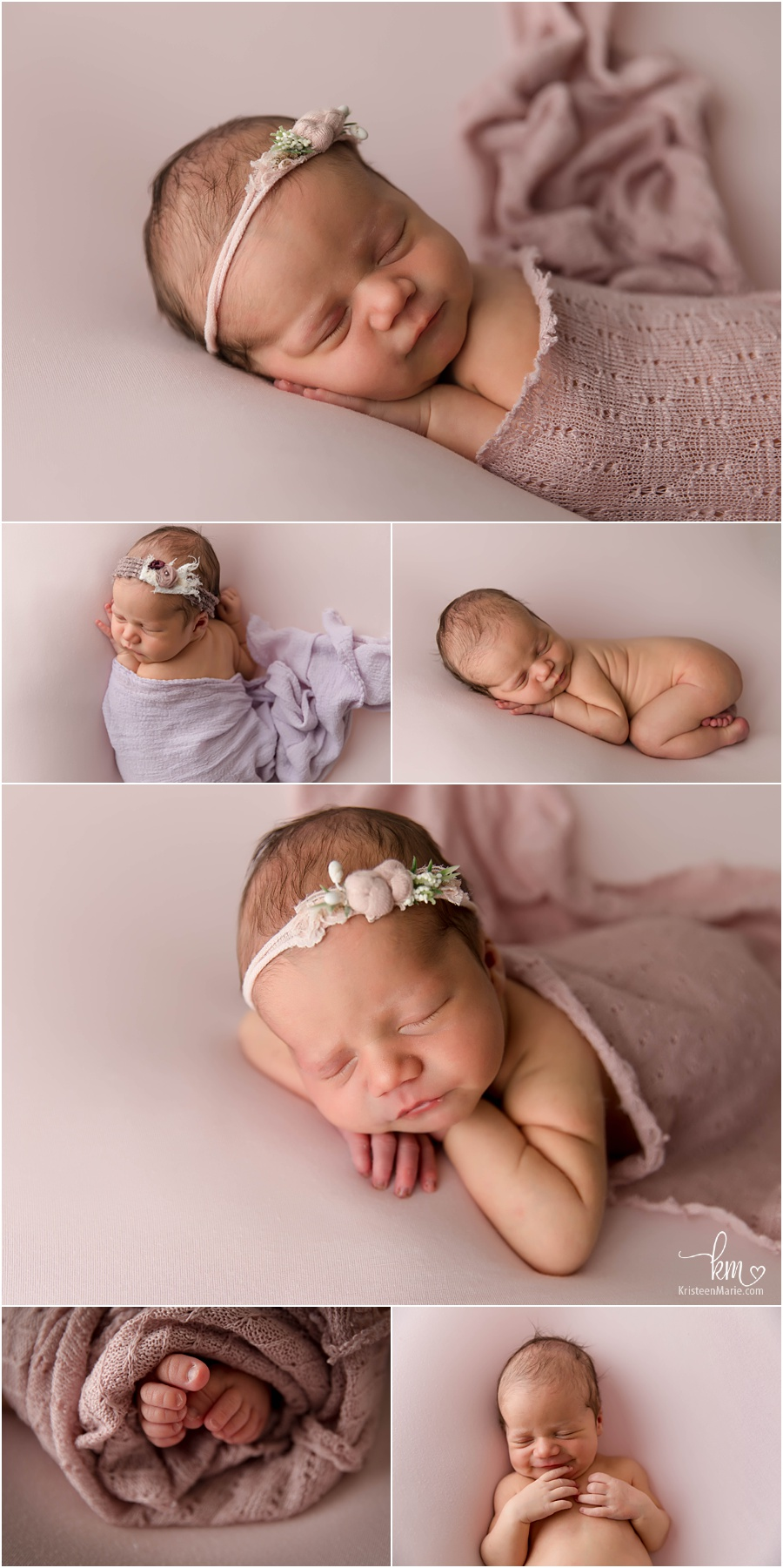 newborn girl in pink