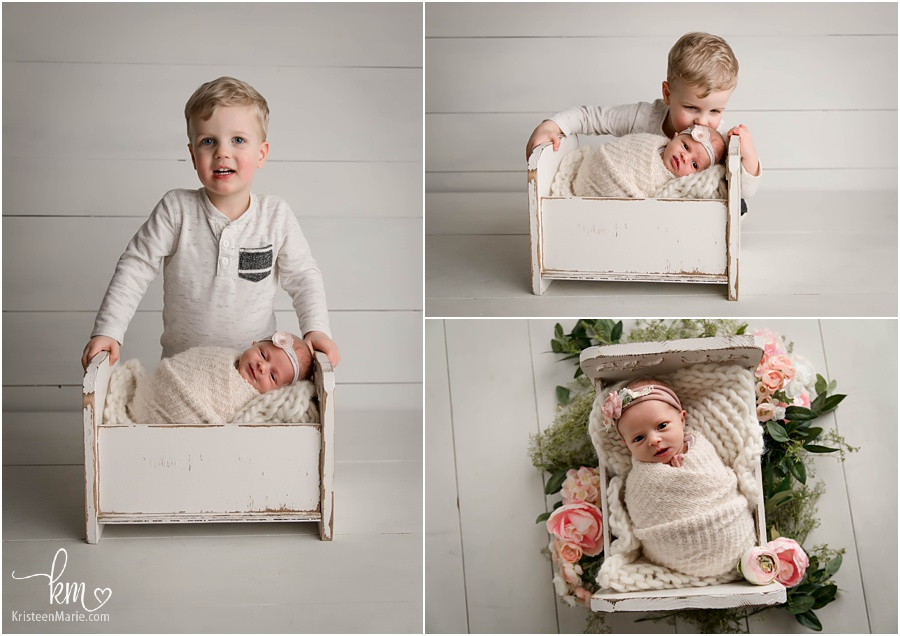 2 year old brother and baby sister - sibling newborn poses