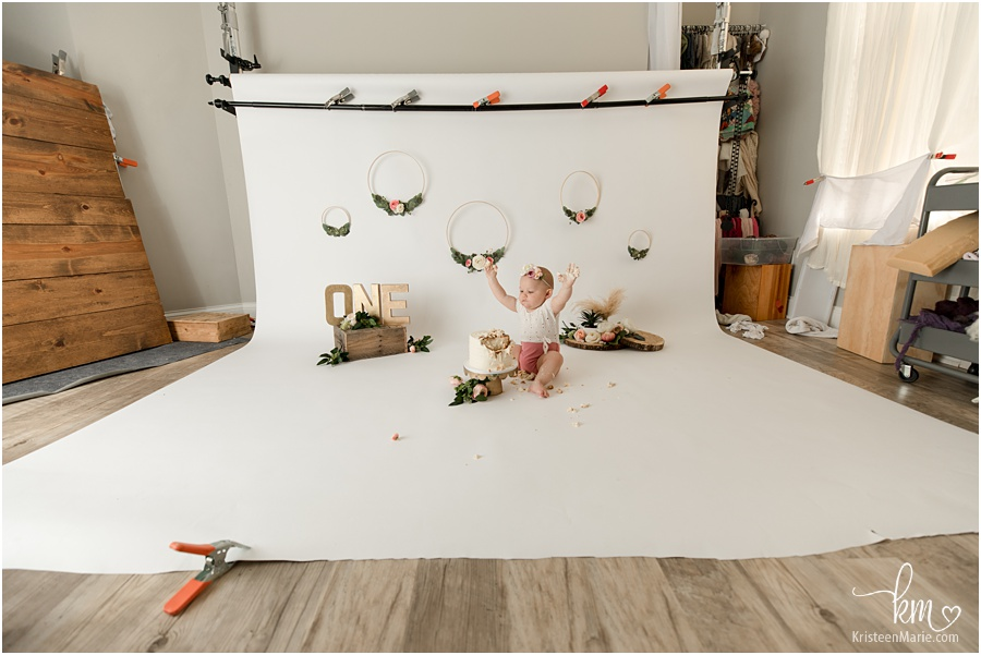 boho cake smash session pull back in the studio - behind the scenes