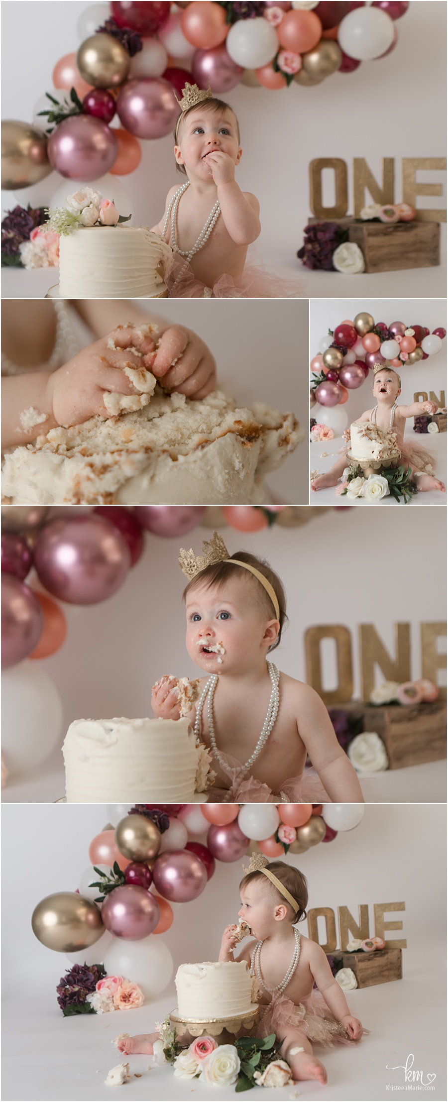 maroon and gold floral cake smash with balloon arch - 1st birthday