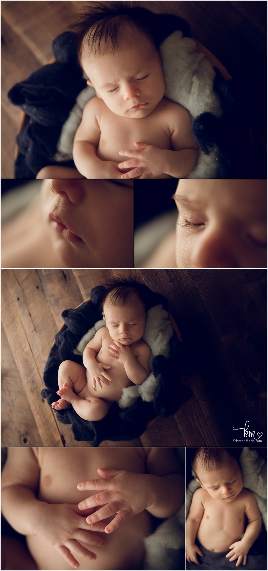 rustic newborn pictures on wood and blue
