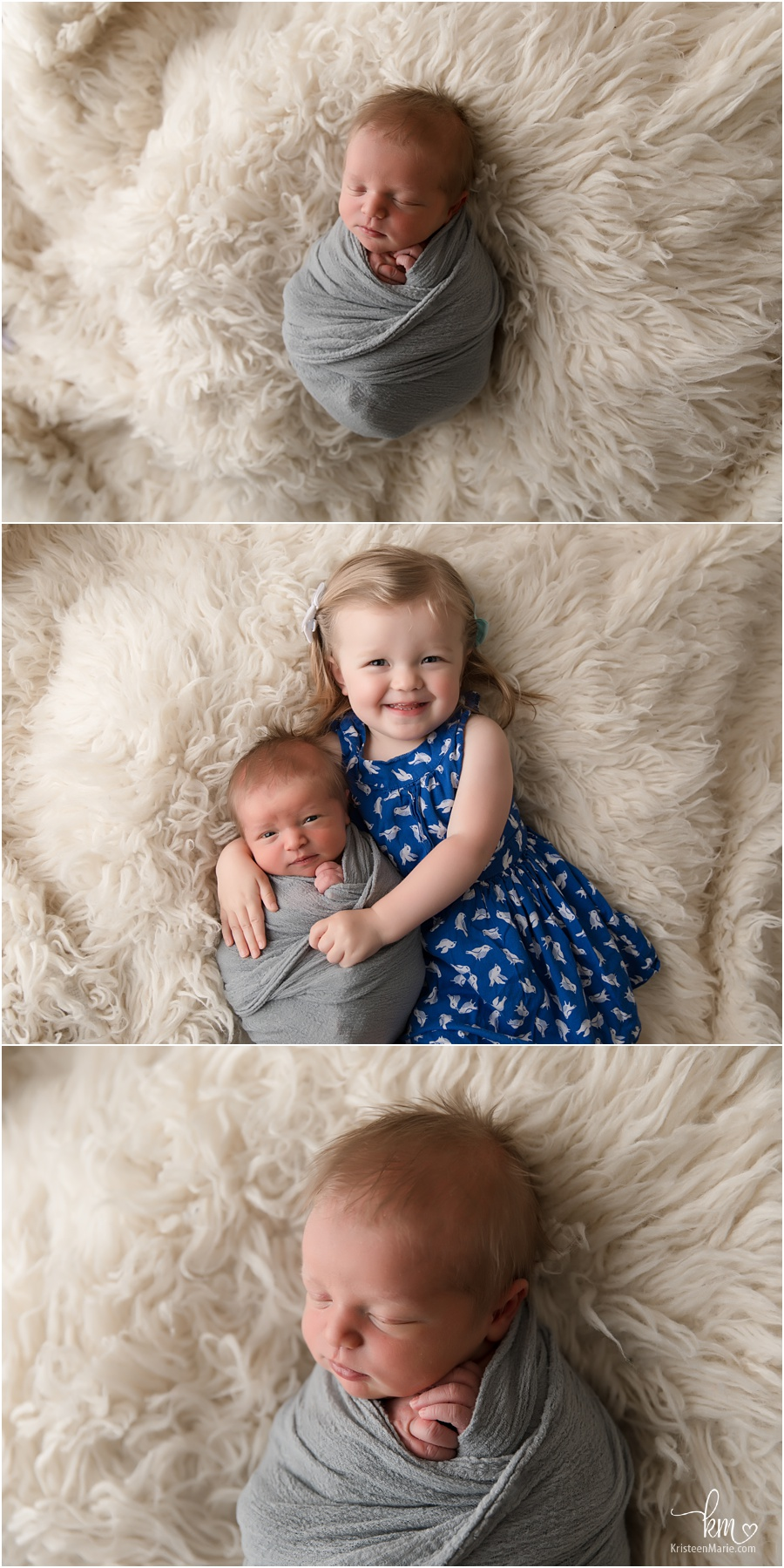 sibling and newborn baby boy poses