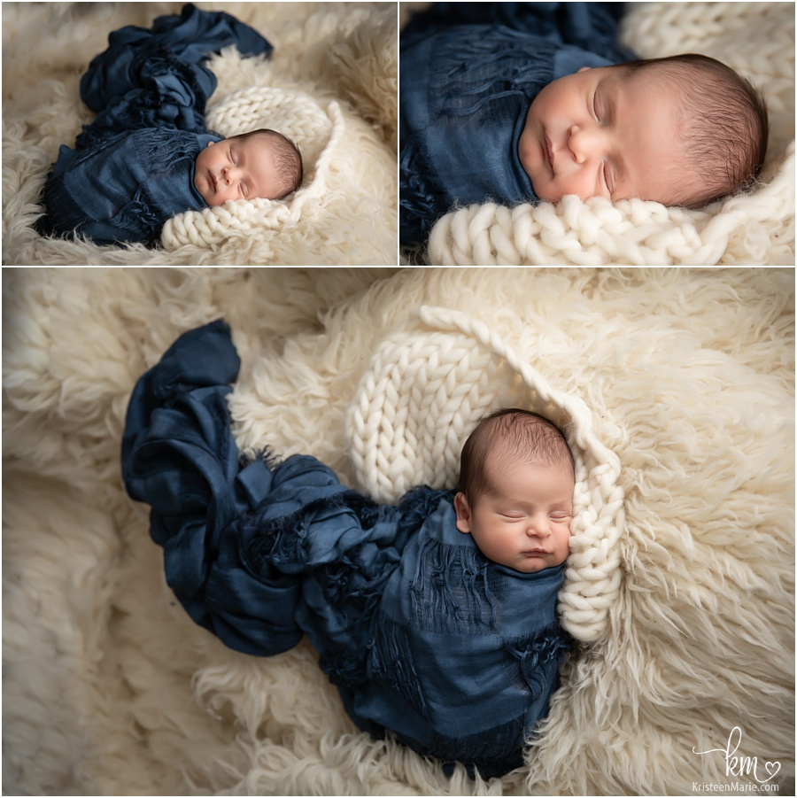 newborn boy photography with lots of texture