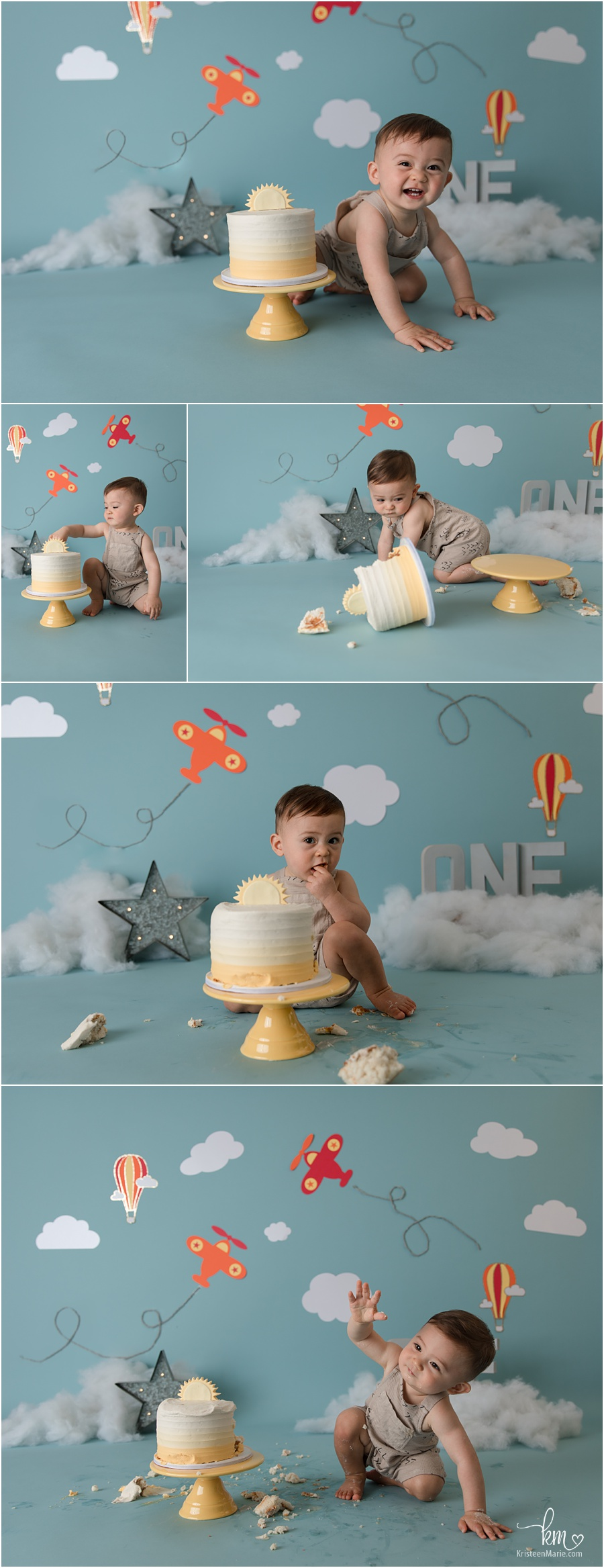 airplanes and clouds cake smash session in blue and white