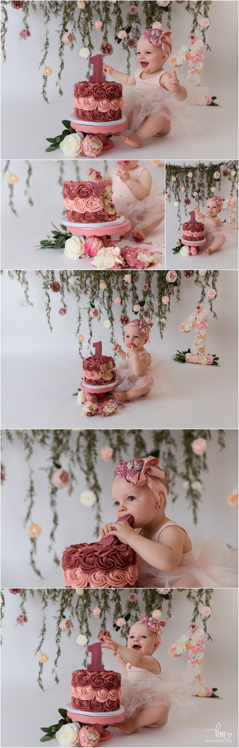 mauve and blush 1st birthday cake smash session