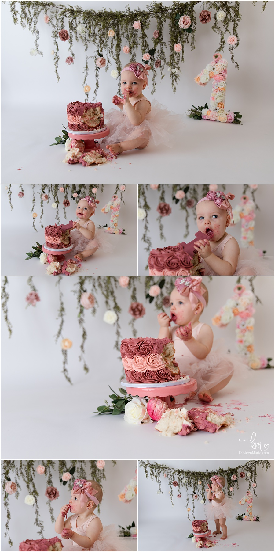 blush floral pink 1st birthday cake smash session