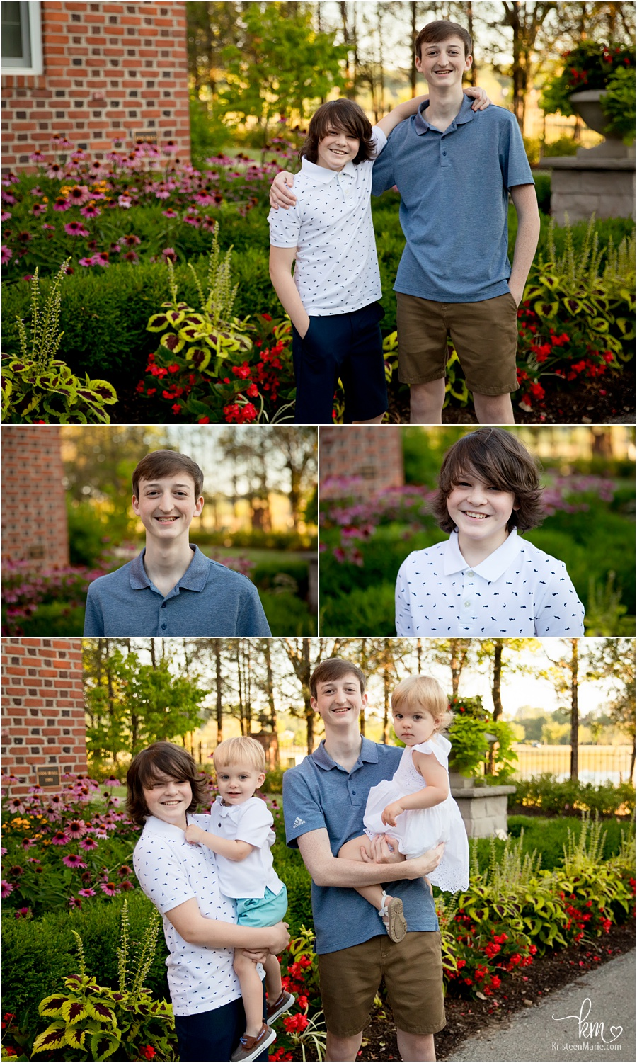 the kids outdoors - older siblings and younger sibling poses