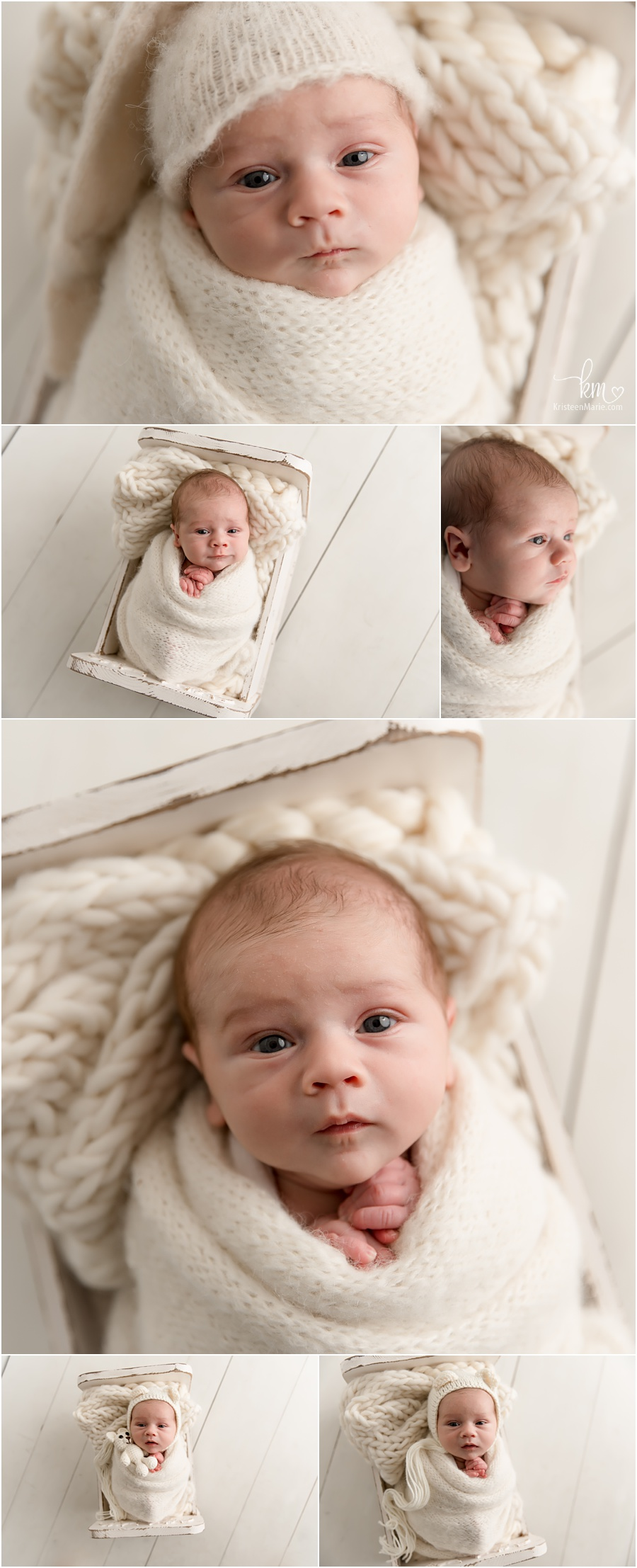 neutral newborn photography with awake newborn