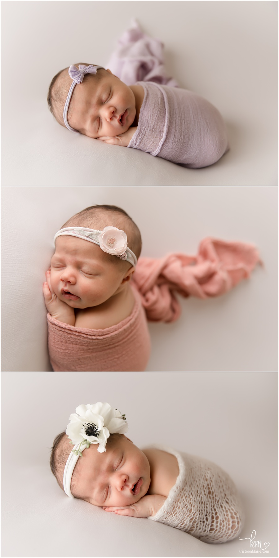 newborn baby girl on white
