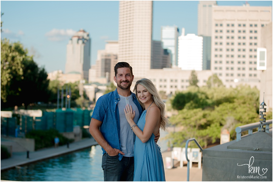 downtown Indianapolis skyline with couple