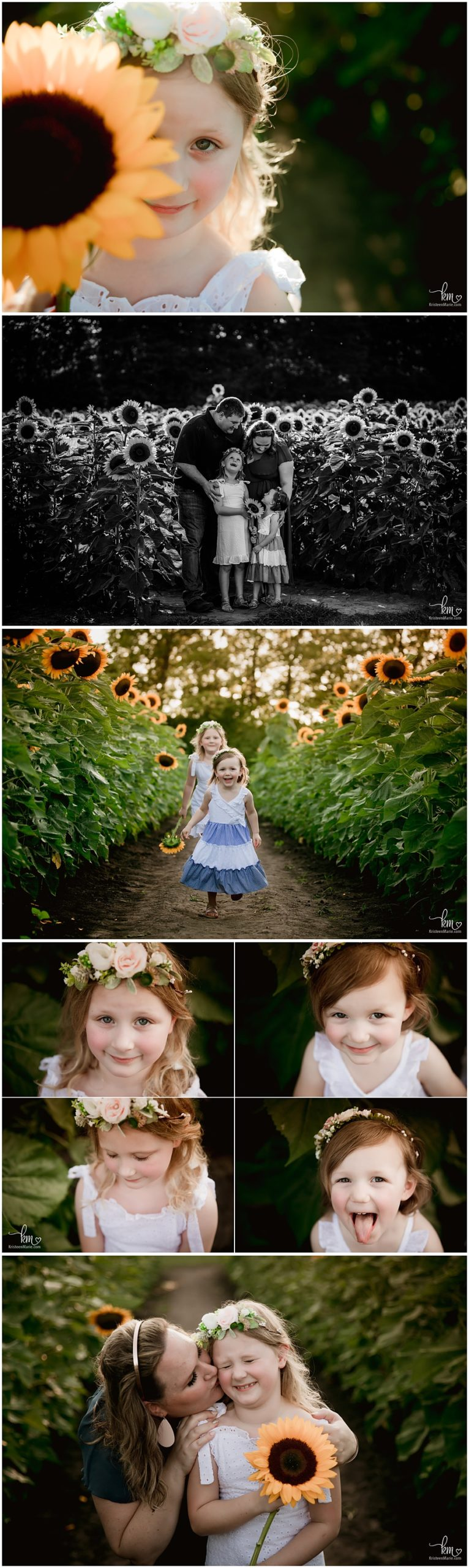 playing in sunflower field - Indianapolis photogrpaher