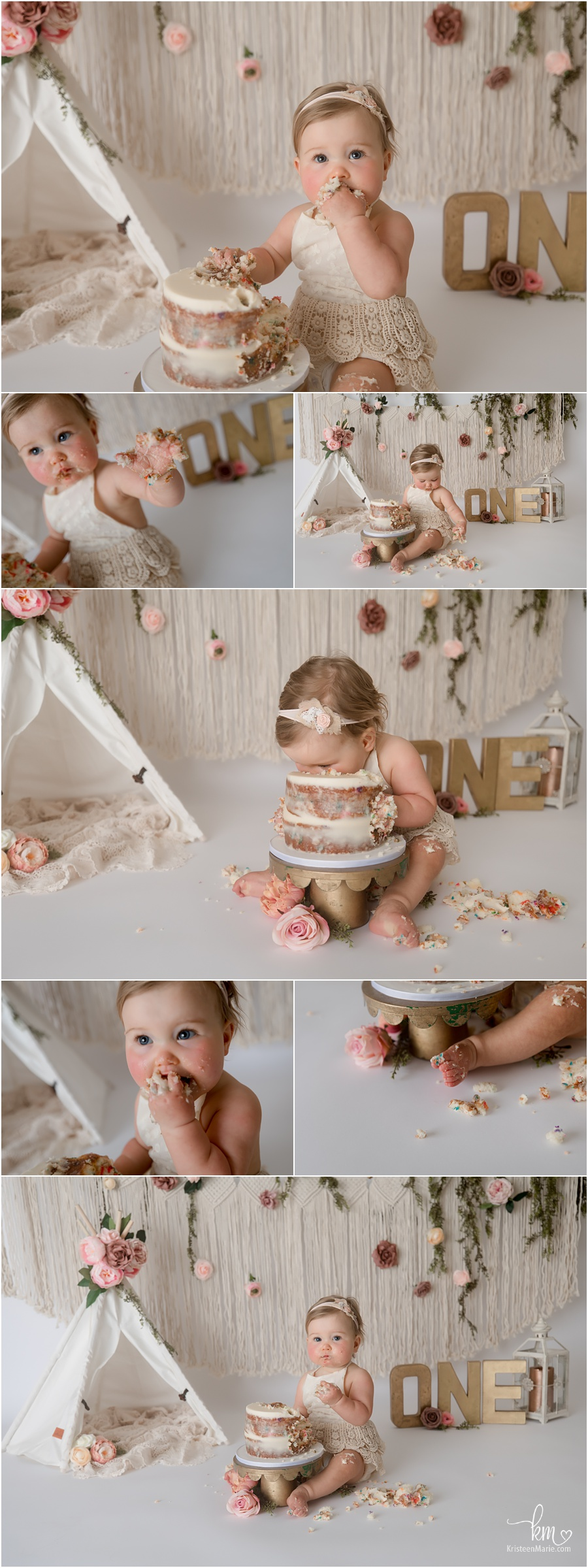 boho 1st birthday party cake smash - pink, blush and macrame
