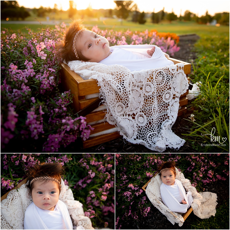 newborn photography outdoors with flowers