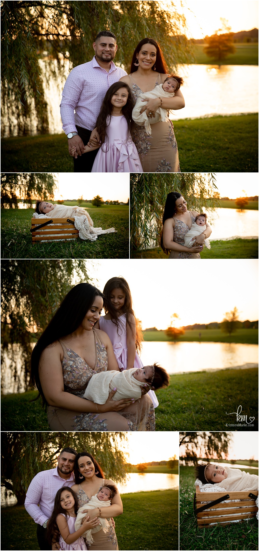 outdoor newborn photography at sunset backlit - Indianapolis photographer