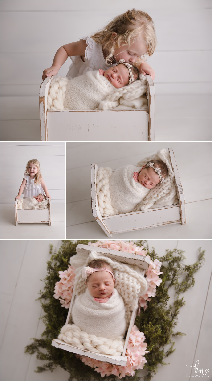 neutral newborn pictures in photography studio