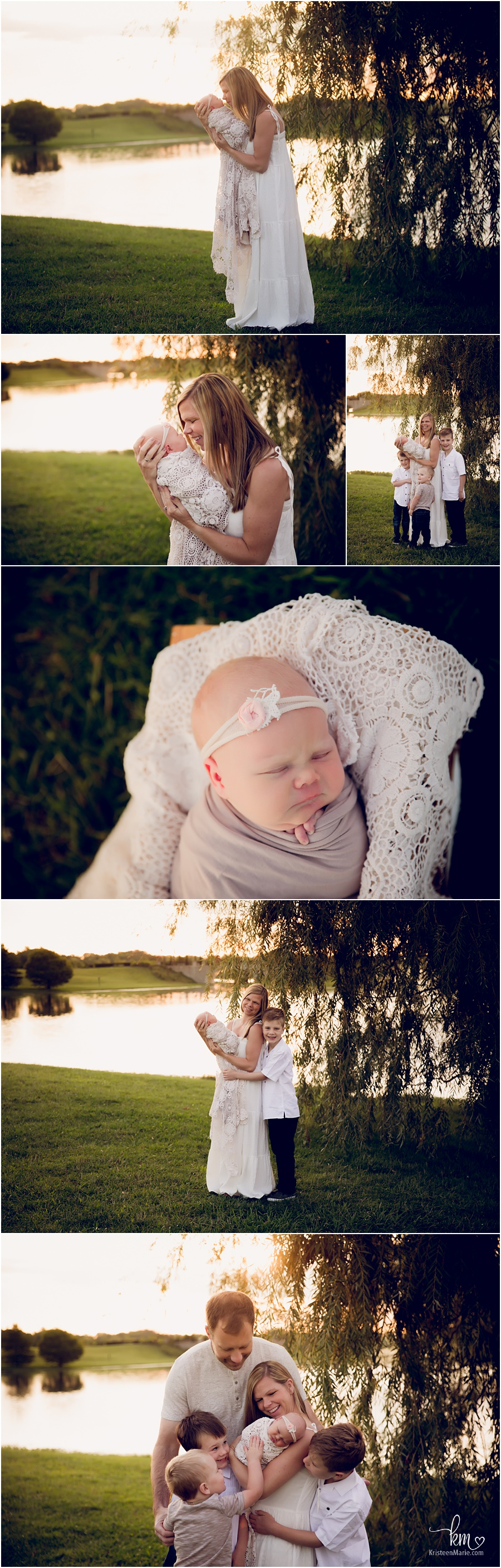 outdoor newborn photography session at sunrise