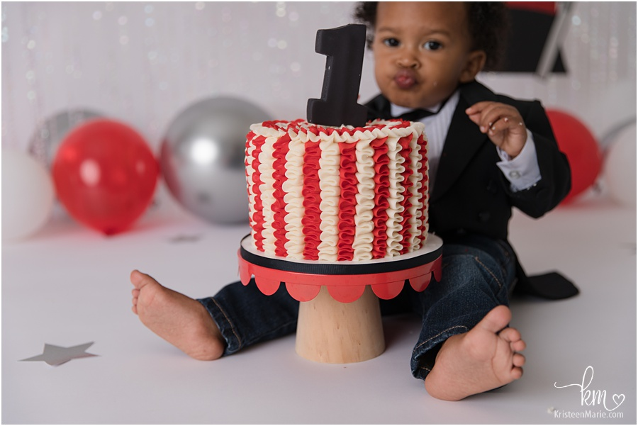 red and white cake for Magic themed birthday