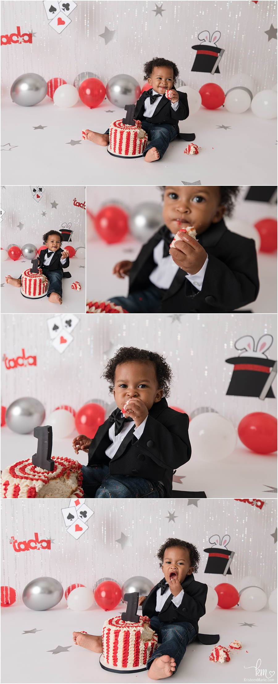 Magic themed 1st birthday party cake smash - tada, rabbits in hat - red, white and black