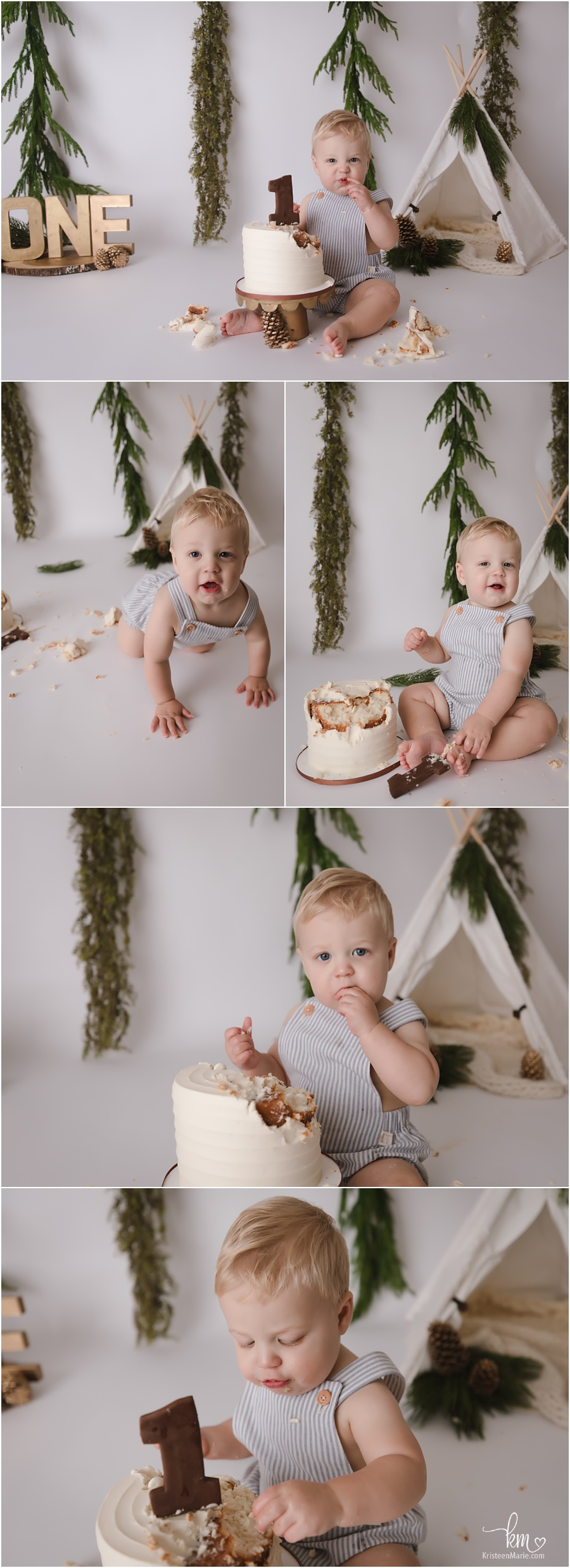 evergreen cake smash set-up for baby's 1st birthday