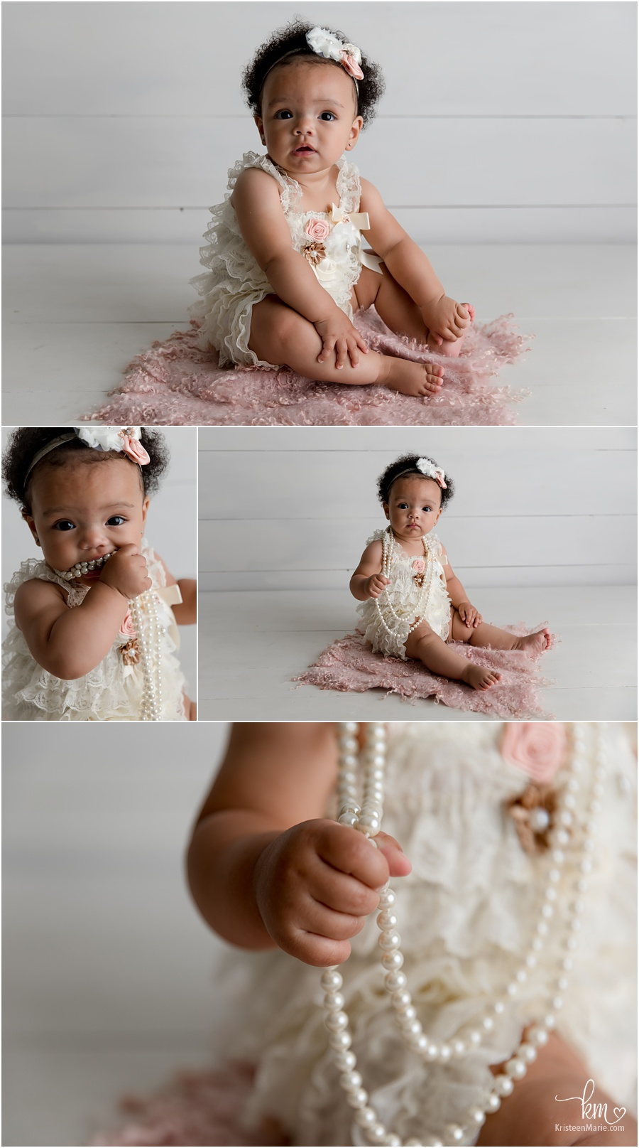 lace and pearls - baby girl photography