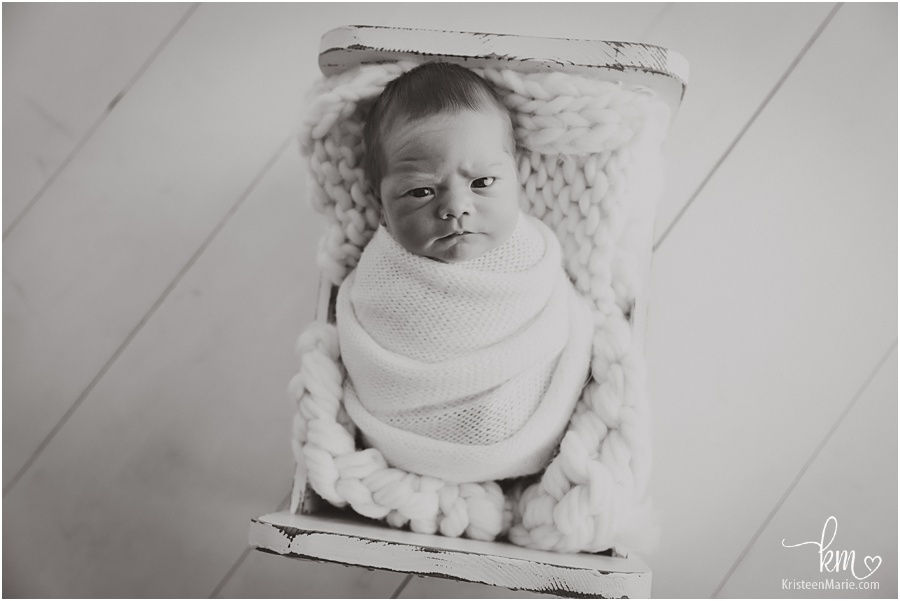 newborn boy black and white newborn image
