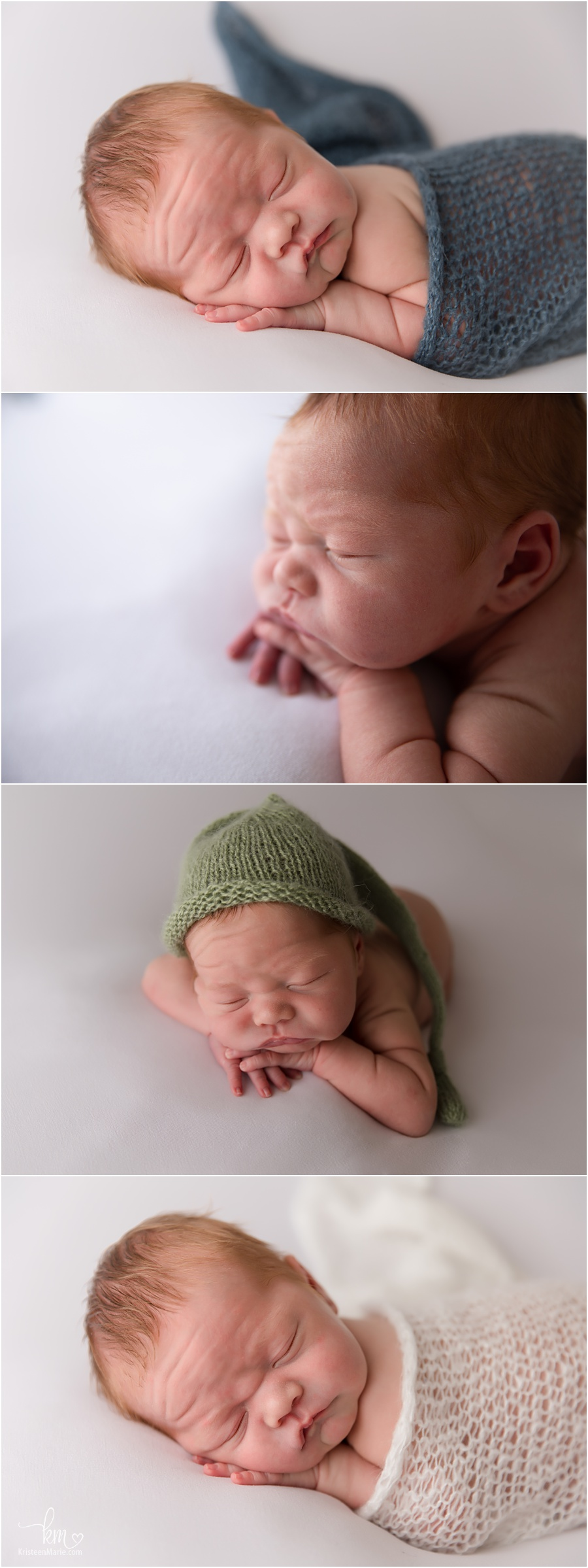 newborn boy on white backdrop with pops of color