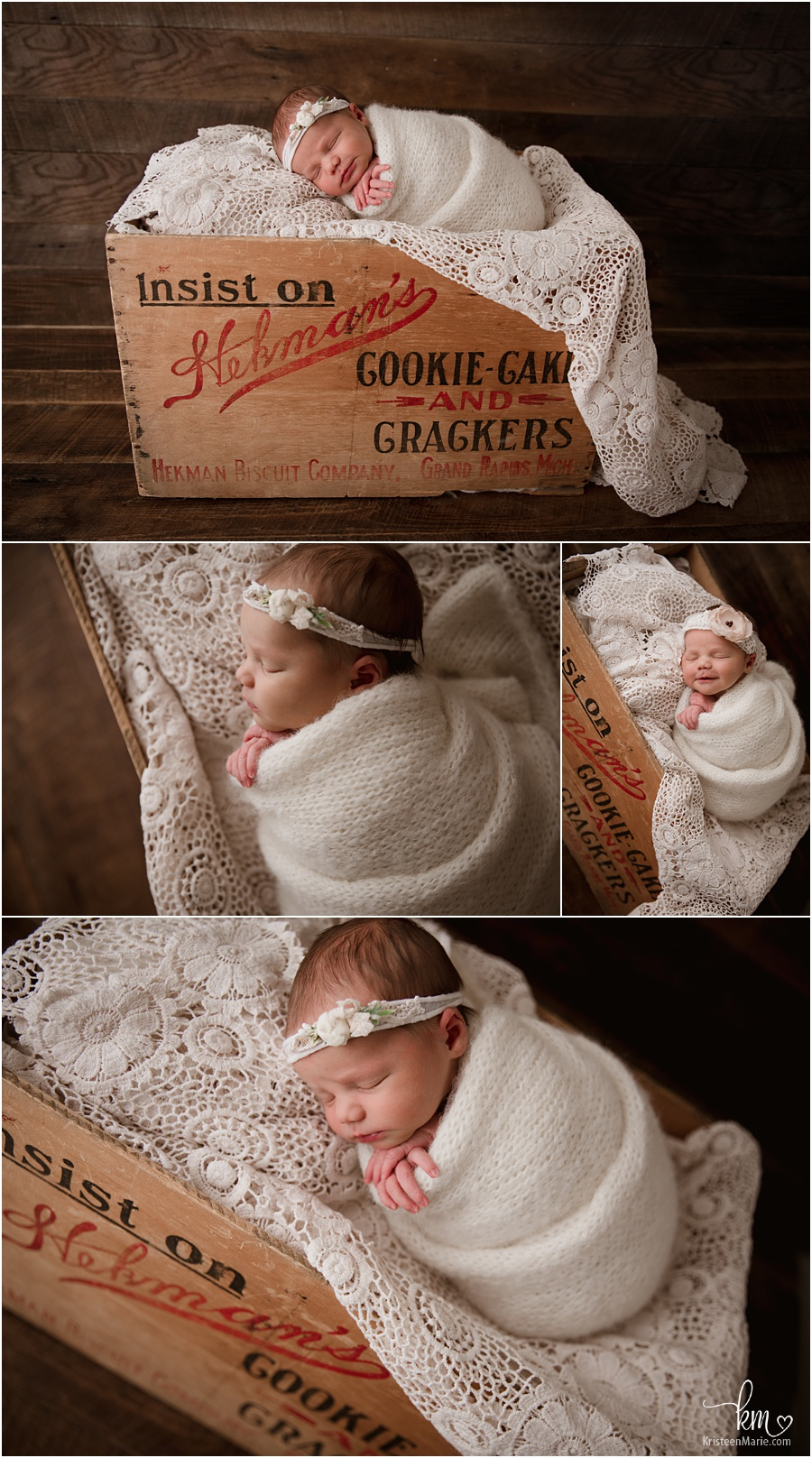 heirloom box with newborn baby