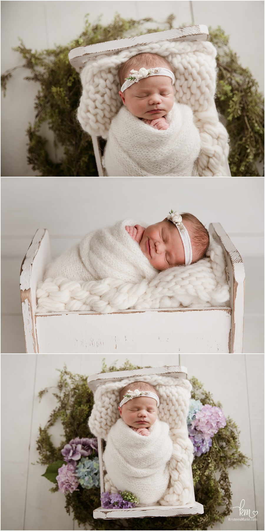 newborn baby girl in box