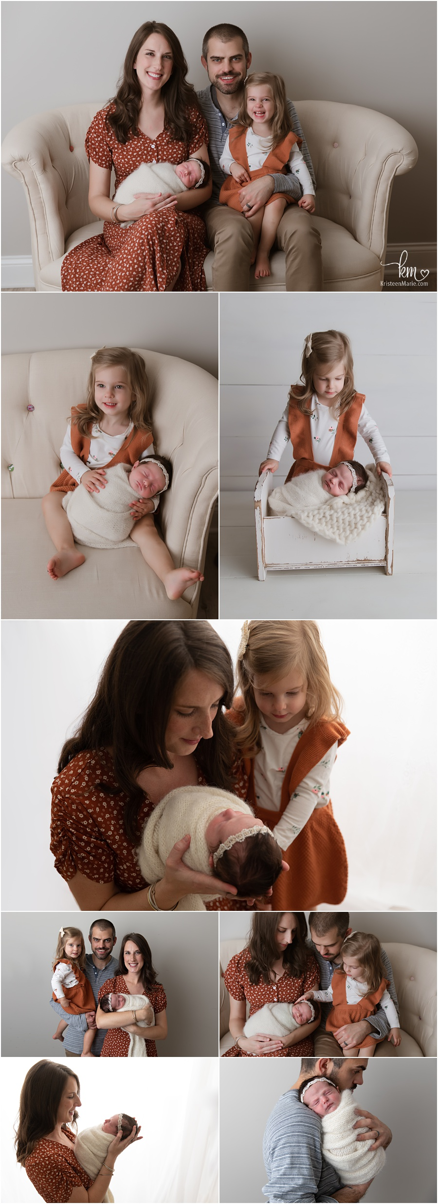 family poses for newborn photography in Indianapolis photography studiostudio