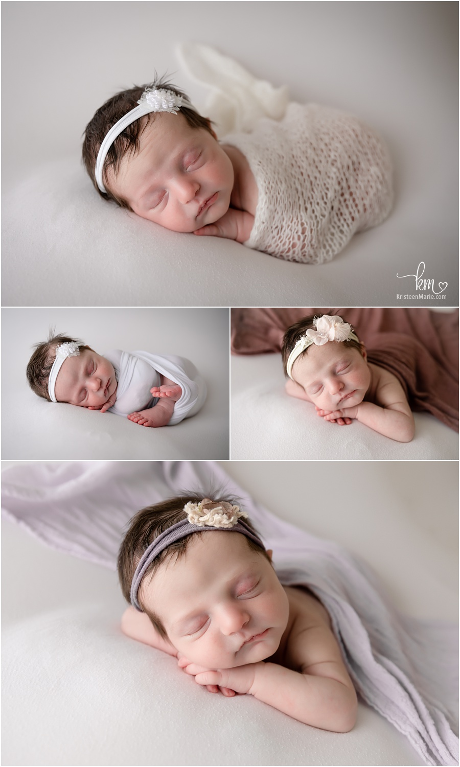 sleeping newborn girl on white backdrop