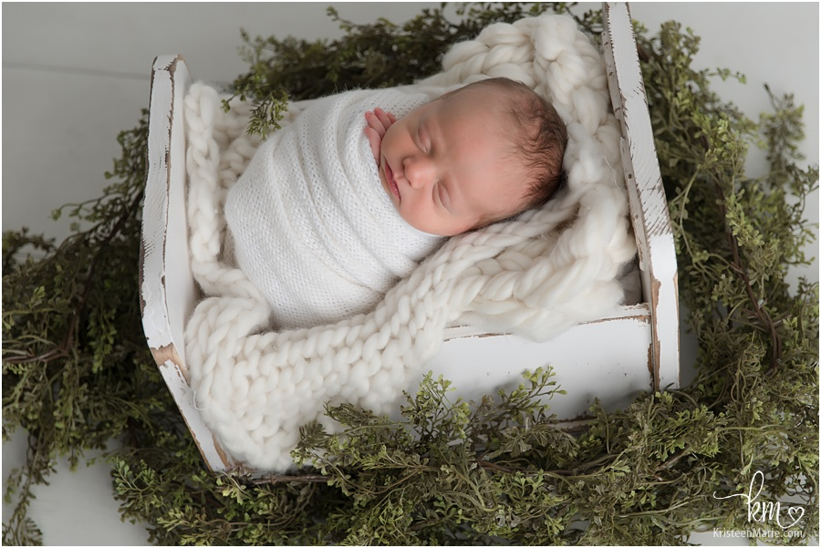 newborn with greenery