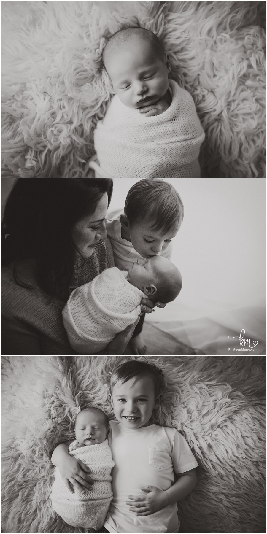 black and white newborn photography - family poses and baby