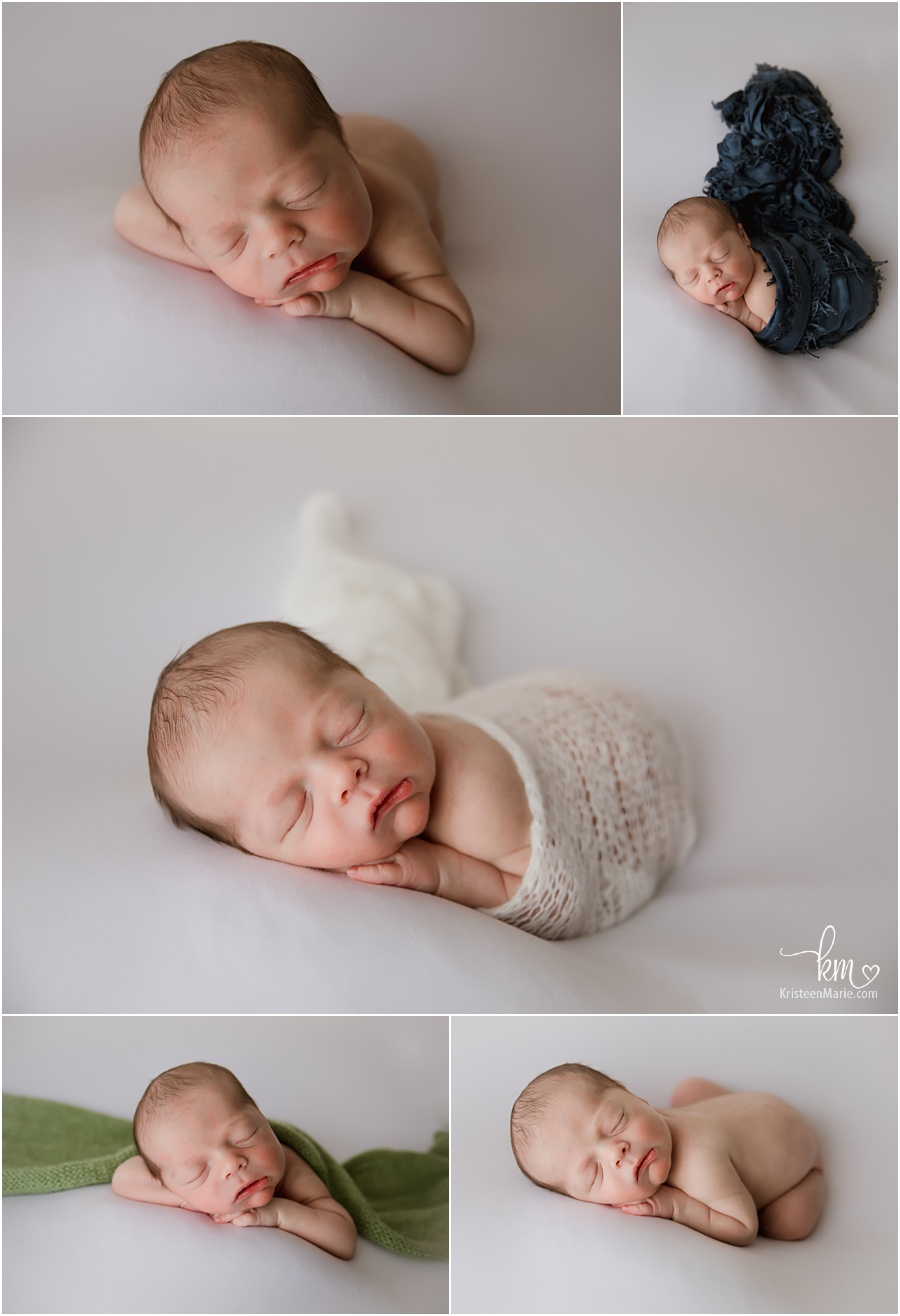 newborn sleeping on white backdrop and pops of color